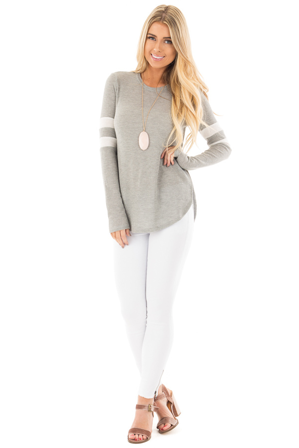 Heather Grey Waffle Long Sleeve Top with White Stripes on Sleeves front full body