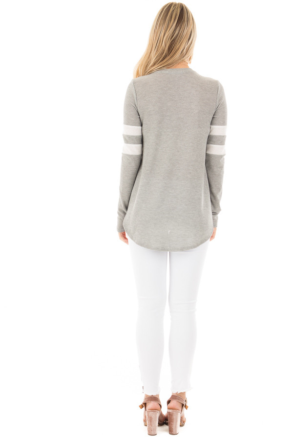 Heather Grey Waffle Long Sleeve Top with White Stripes on Sleeves back full body