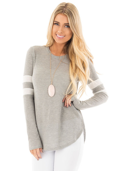 Heather Grey Waffle Long Sleeve Top with White Stripes on Sleeves front close up