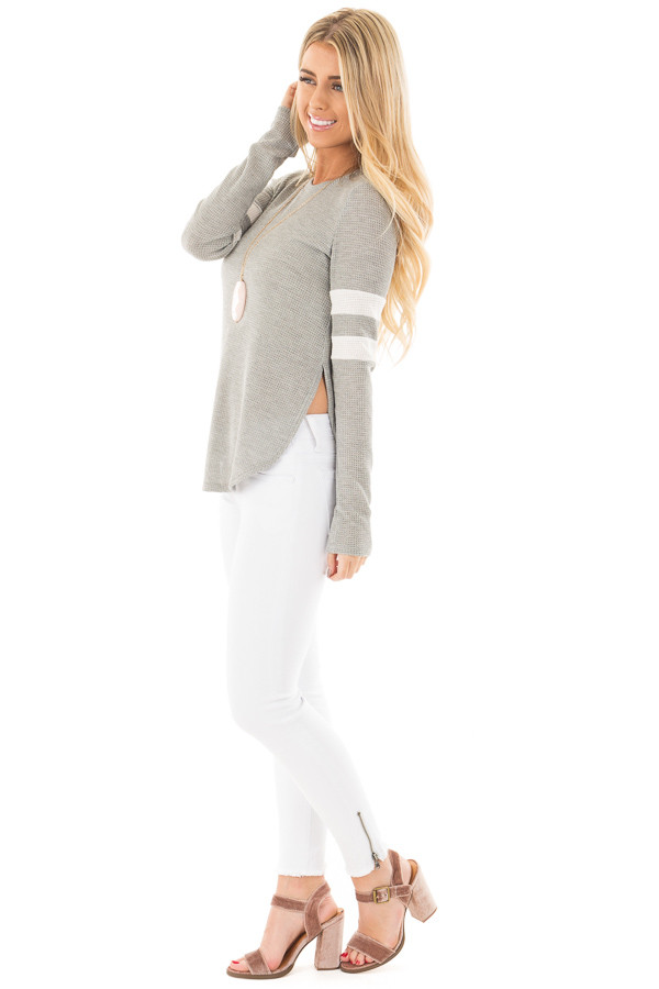 Heather Grey Waffle Long Sleeve Top with White Stripes on Sleeves side full body