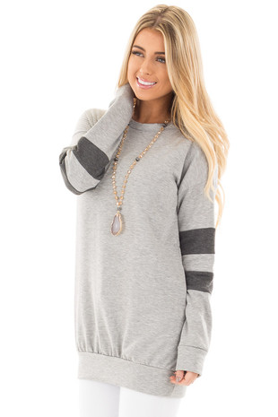 Heather Grey Long Sleeve Sweater with Stripes on Sleeves side front close up