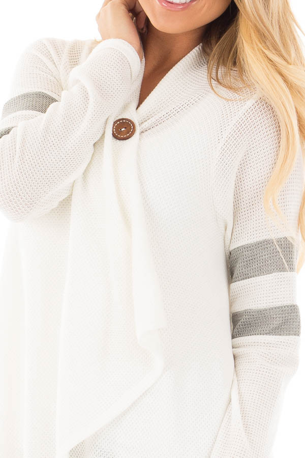 Ivory Long Sleeve Cardigan With Button and Sleeve Stripes detail