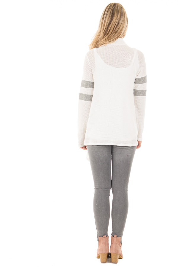 Ivory Long Sleeve Cardigan With Button and Sleeve Stripes back full body