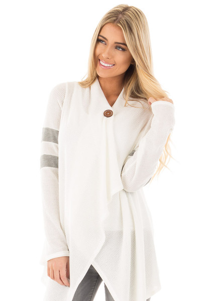 Ivory Long Sleeve Cardigan With Button and Sleeve Stripes front close up