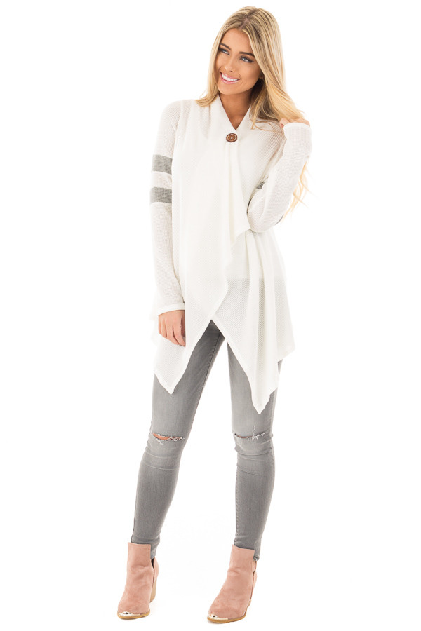Ivory Long Sleeve Cardigan With Button and Sleeve Stripes front full body