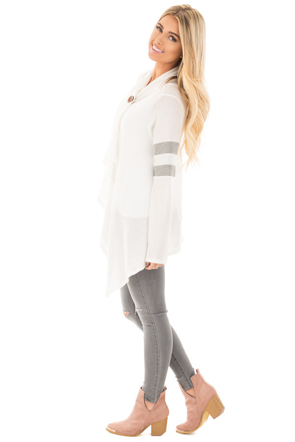 Ivory Long Sleeve Cardigan With Button and Sleeve Stripes side full body