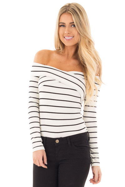 Ivory Striped Off Shoulder Criss Cross Fold Over Top front close up
