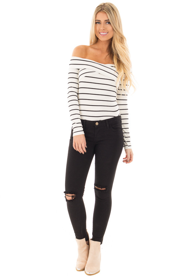 Ivory Striped Off Shoulder Criss Cross Fold Over Top front full body