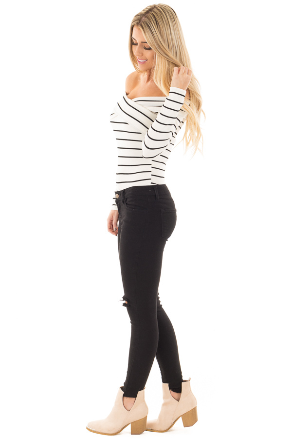 Ivory Striped Off Shoulder Criss Cross Fold Over Top side full body