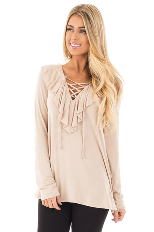Sand Long Sleeve Top with Lace Up V Neck and Frill front close up