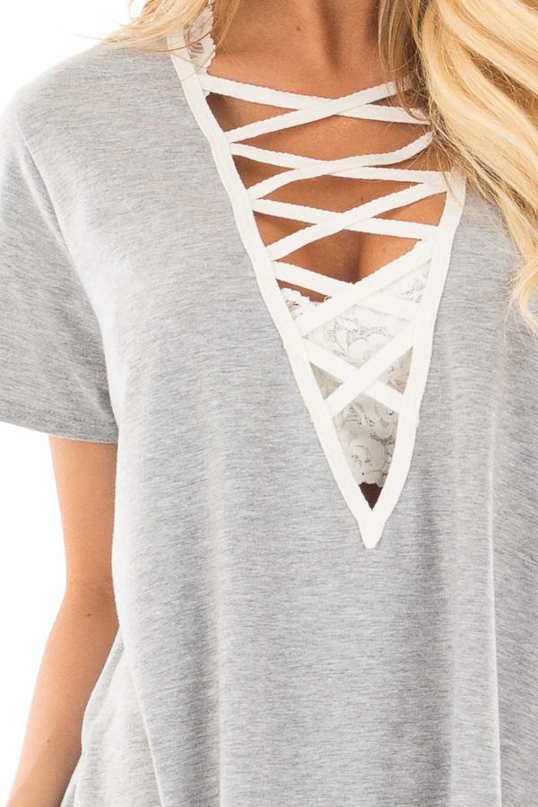 Heather Grey Tee with Ivory Lace Up Neckline detail