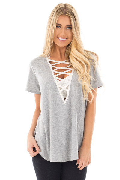 Heather Grey Tee with Ivory Lace Up Neckline front close up