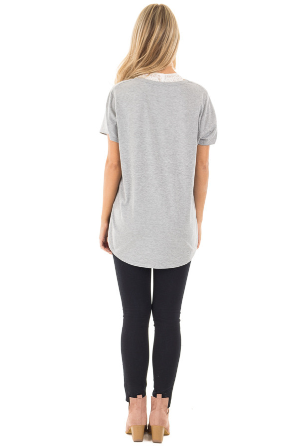 Heather Grey Tee with Ivory Lace Up Neckline back full body