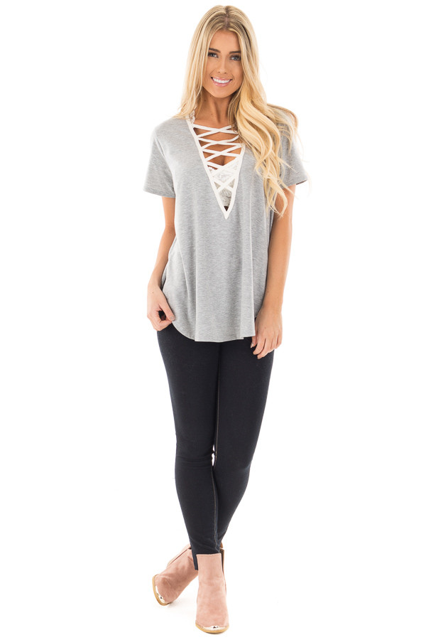 Heather Grey Tee with Ivory Lace Up Neckline front full body