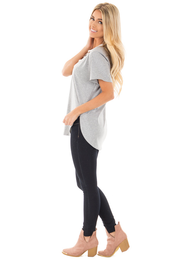 Heather Grey Tee with Ivory Lace Up Neckline side full body