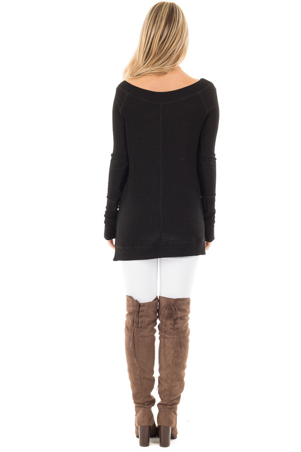 Black Waffle Knit Off the Shoulder Sweater back full body