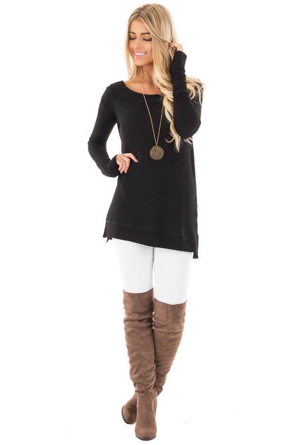 Black Waffle Knit Off the Shoulder Sweater front full body