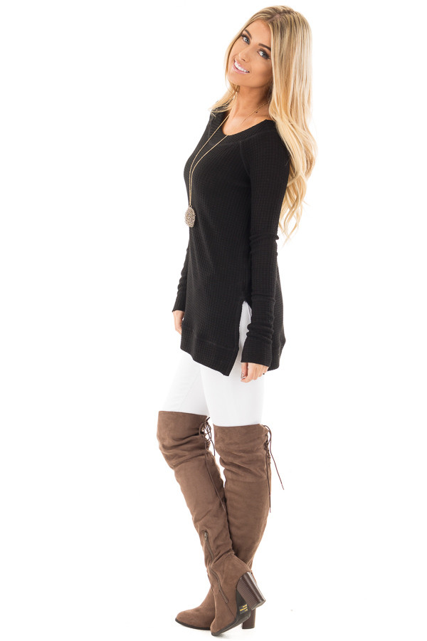 Black Waffle Knit Off the Shoulder Sweater side full body