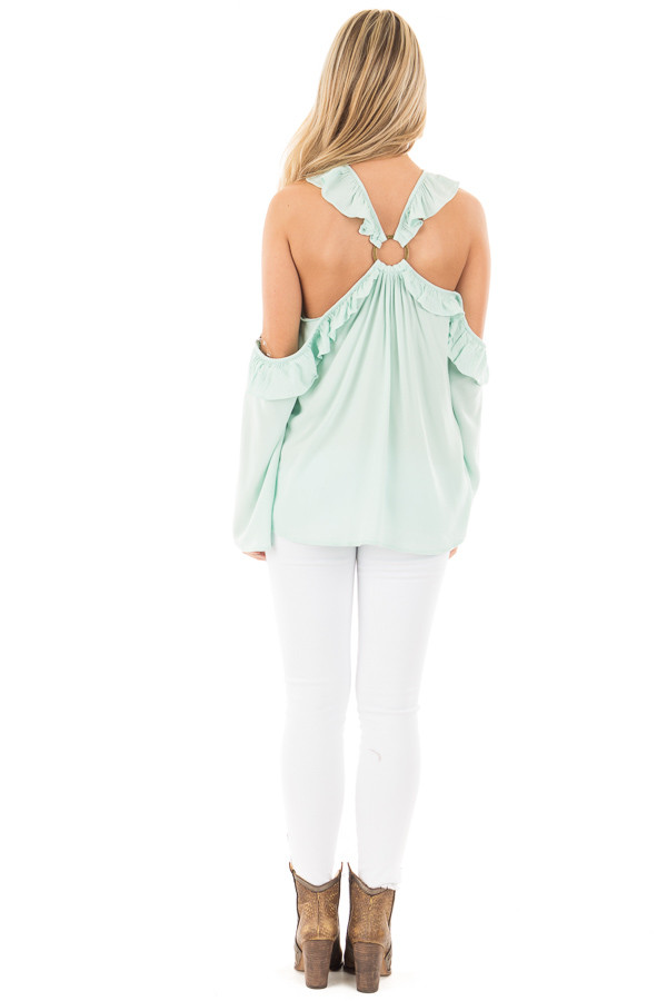 Mint Ruffle Halter Top with Cut Out Shoulders back full body