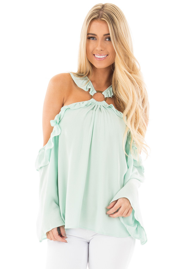 Mint Ruffle Halter Top with Cut Out Shoulders front close up