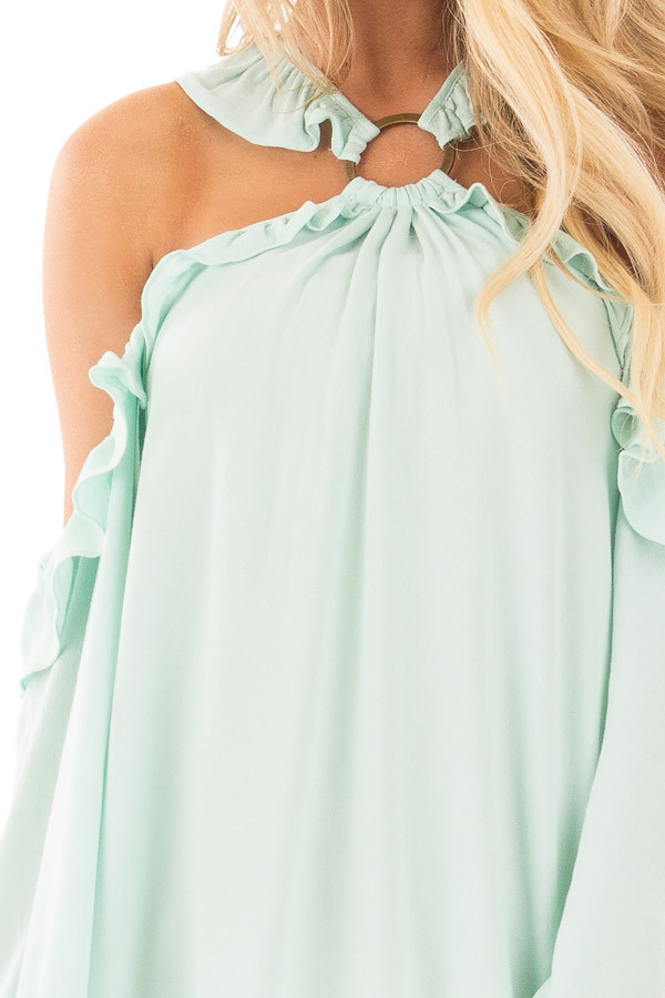 Mint Ruffle Halter Top with Cut Out Shoulders detail