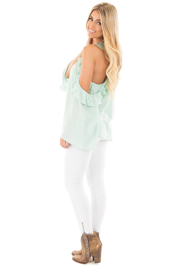 Mint Ruffle Halter Top with Cut Out Shoulders side full body