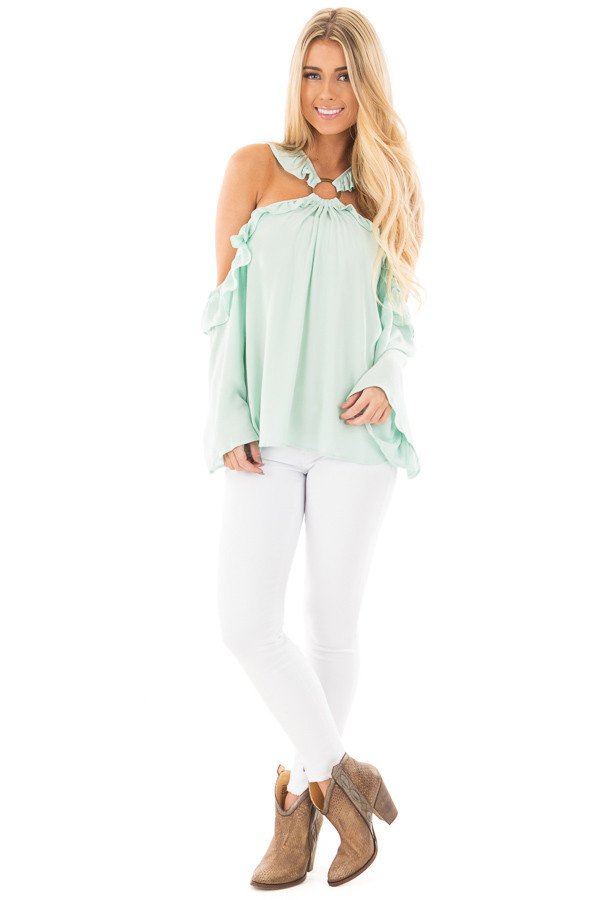 Mint Ruffle Halter Top with Cut Out Shoulders front full body