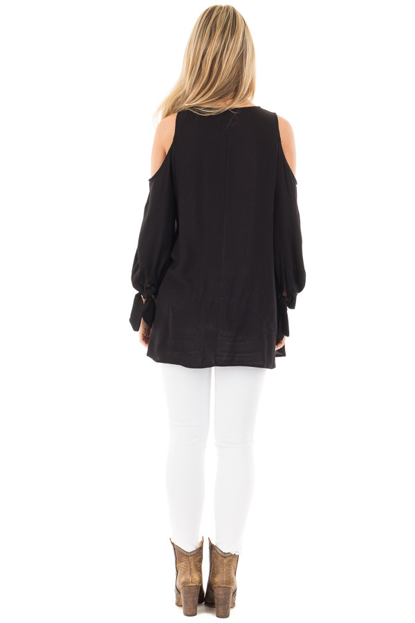 Black Cold Shoulder Blouse with Tie Detail on Sleeves back full body