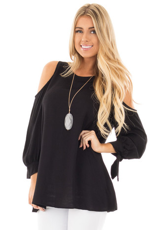 Black Cold Shoulder Blouse with Tie Detail on Sleeves front close up