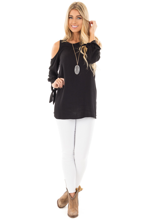 Black Cold Shoulder Blouse with Tie Detail on Sleeves front full body