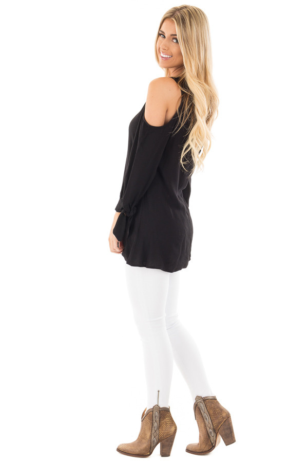 Black Cold Shoulder Blouse with Tie Detail on Sleeves side full body