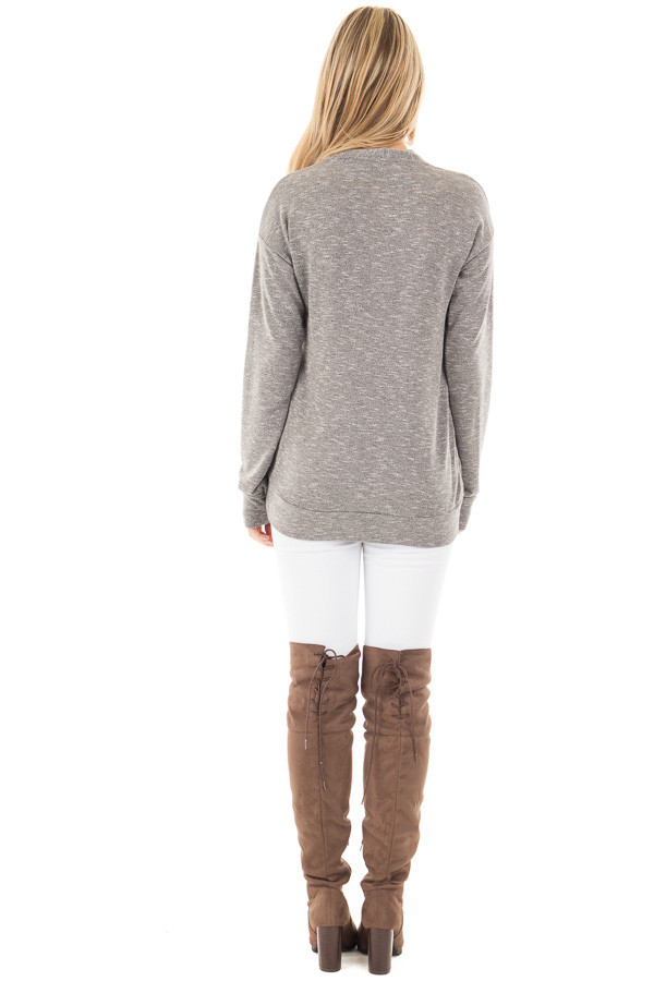 Grey Long Sleeve and Wrap Front Top back full body