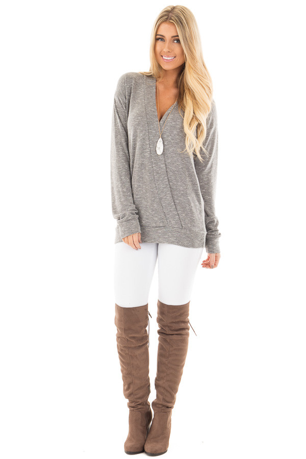 Grey Long Sleeve and Wrap Front Top front full body