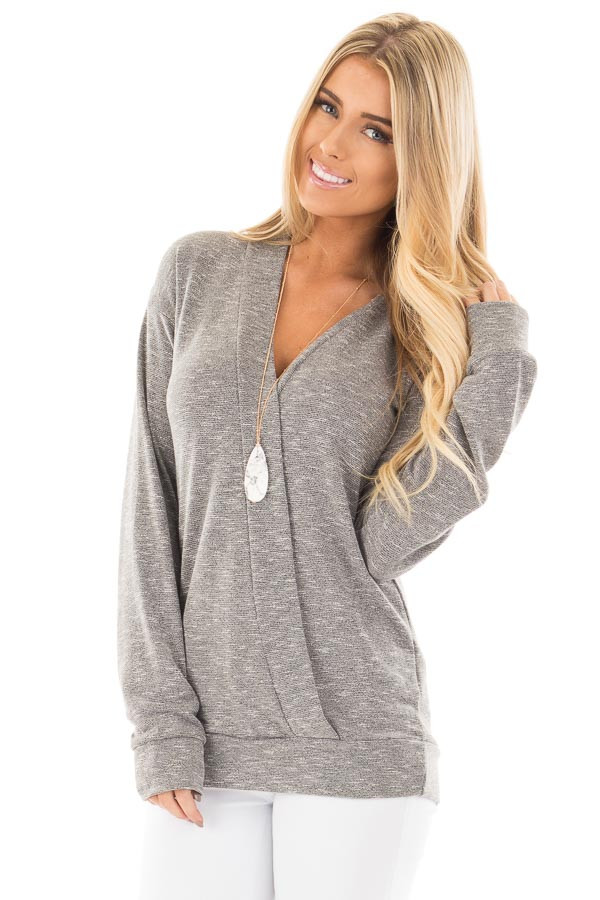 Grey Long Sleeve and Wrap Front Top front close up