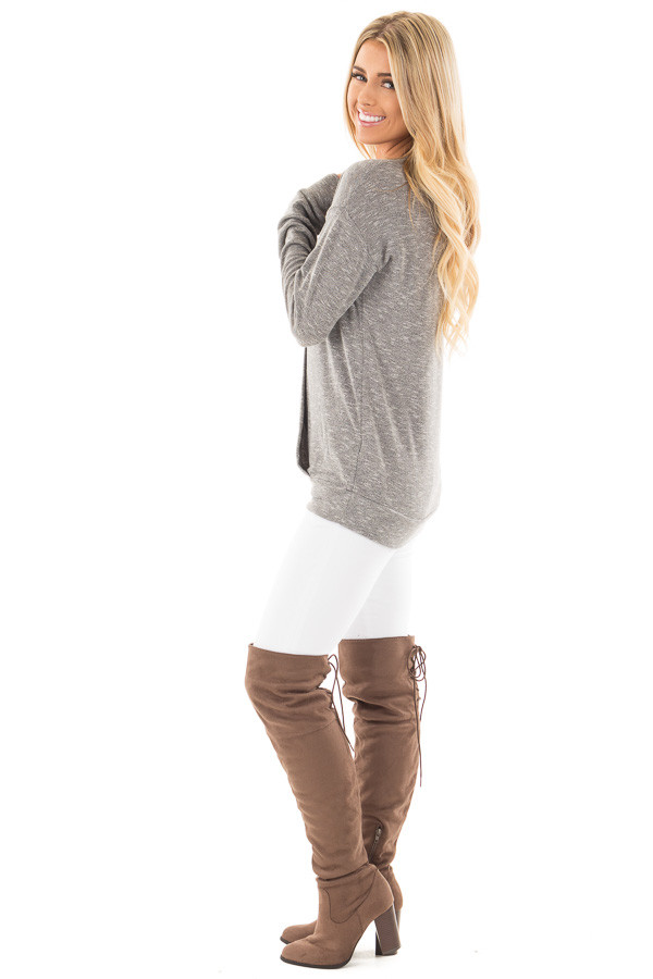 Grey Long Sleeve and Wrap Front Top side full body