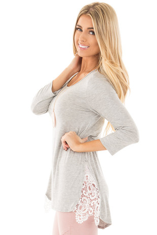 Heather Grey 3/4 Sleeve Tunic with Lace Side Slit Inserts side close up