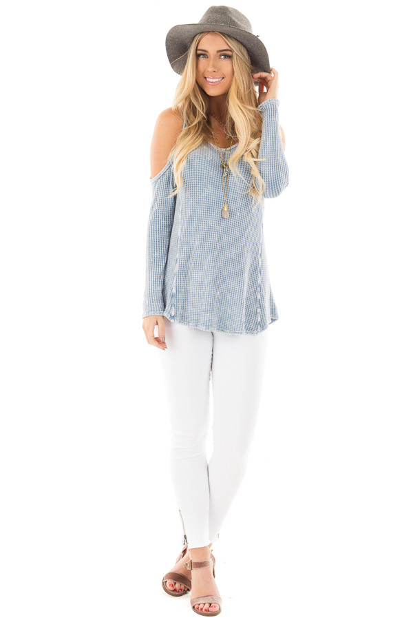 Dusty Blue Ribbed Mineral Wash Cold Shoulder Scoop Neckline Top front full body