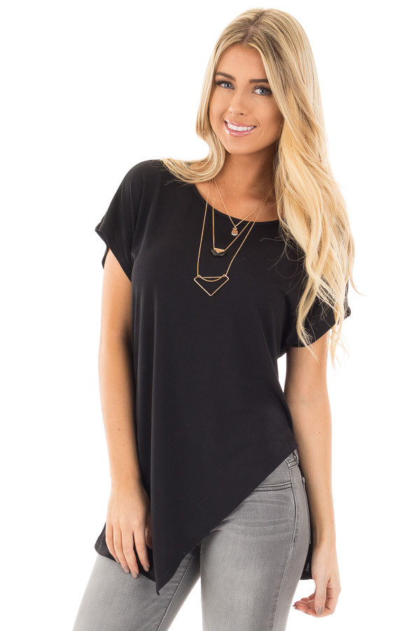 Black Cap Sleeve Tee with Asymmetrical Split Hem front close up