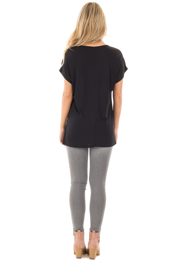 Black Cap Sleeve Tee with Asymmetrical Split Hem back full body