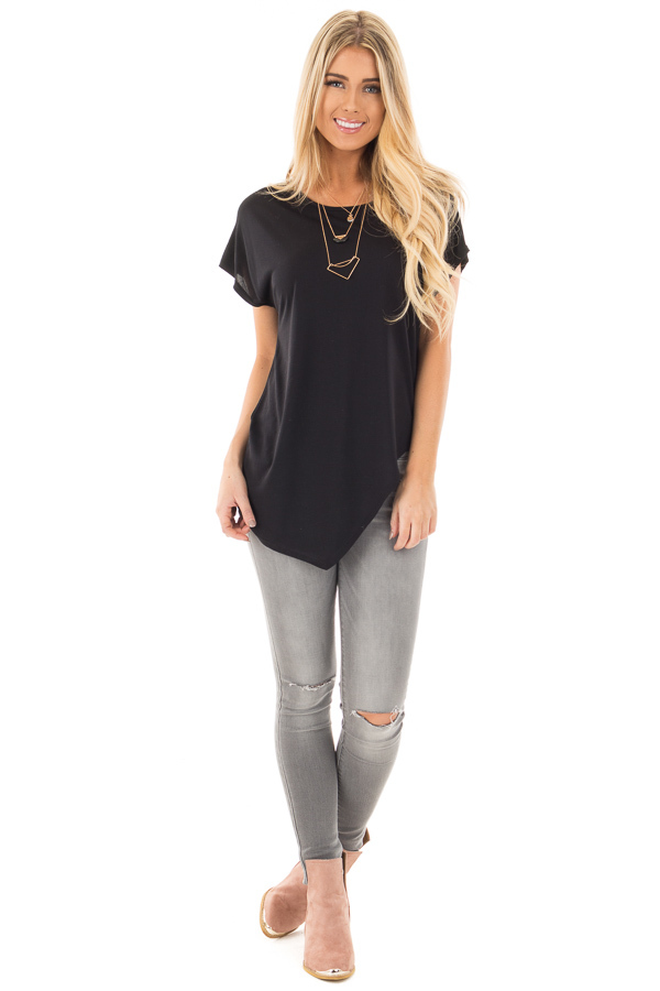 Black Cap Sleeve Tee with Asymmetrical Split Hem front full body