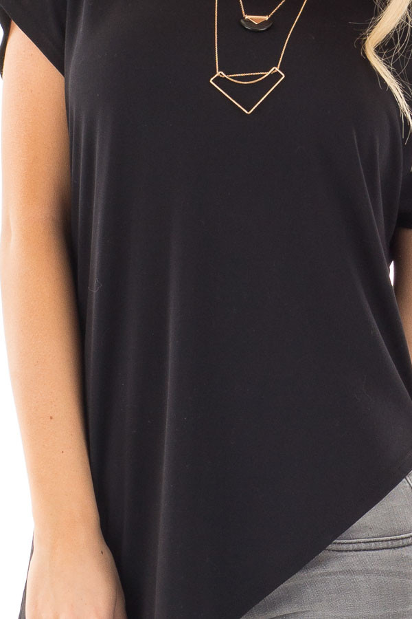Black Cap Sleeve Tee with Asymmetrical Split Hem detail