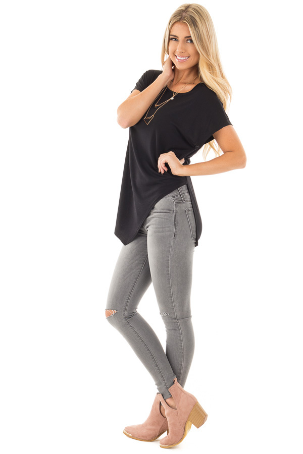 Black Cap Sleeve Tee with Asymmetrical Split Hem side full body