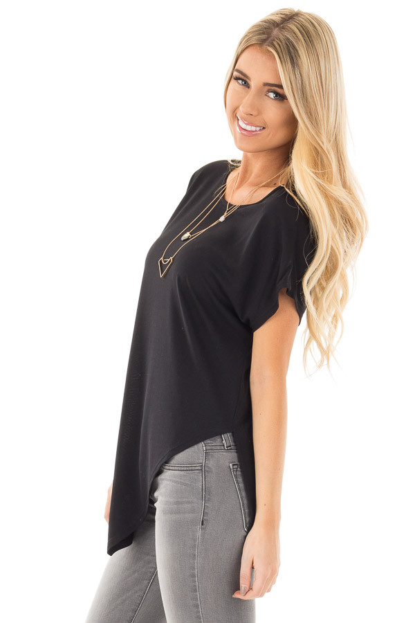 Black Cap Sleeve Tee with Asymmetrical Split Hem side close up