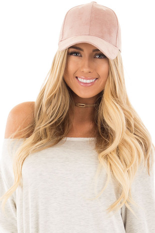 Misty Rose Suede Baseball Cap with Adjustable Velcro Back
