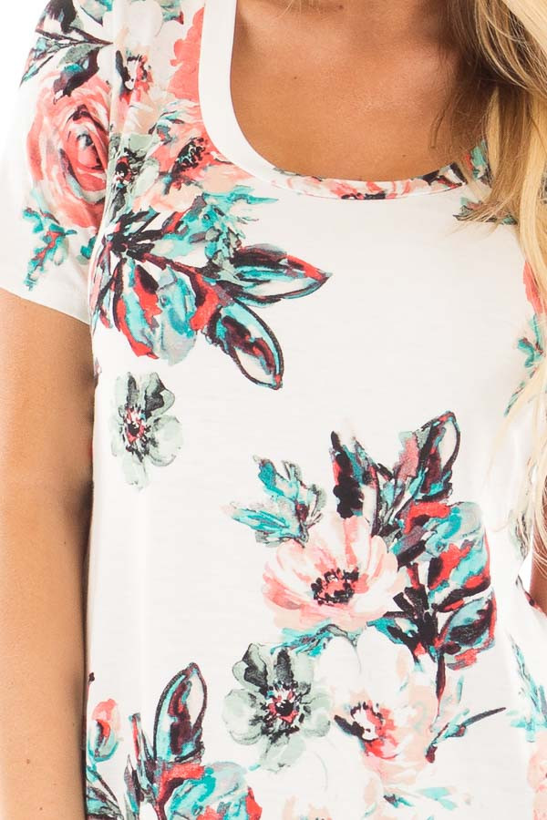 Ivory Tee with Coral and Aqua Watercolor Floral Print detail