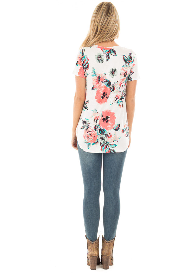 Ivory Tee with Coral and Aqua Watercolor Floral Print back full body