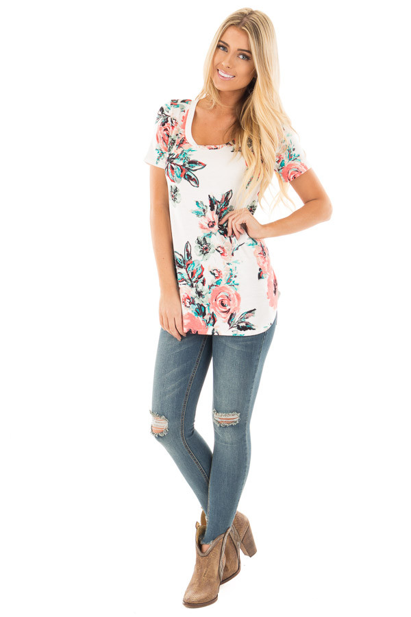 Ivory Tee with Coral and Aqua Watercolor Floral Print front full body