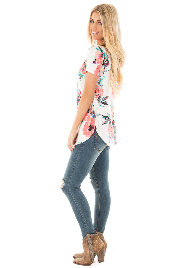 Ivory Tee with Coral and Aqua Watercolor Floral Print side full body