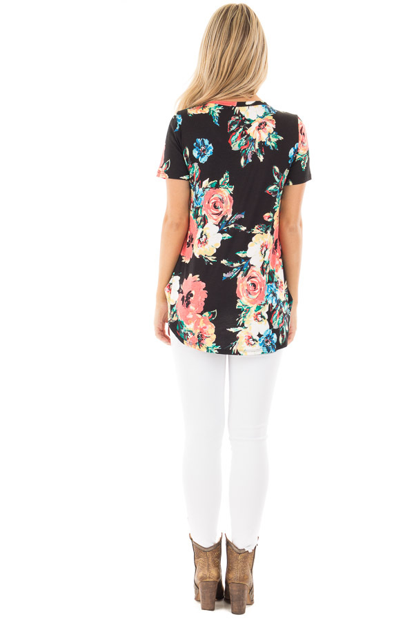 Black Tee with Coral and Blue Watercolor Floral Print back full body