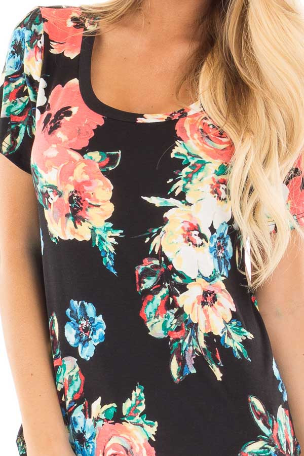 Black Tee with Coral and Blue Watercolor Floral Print detail